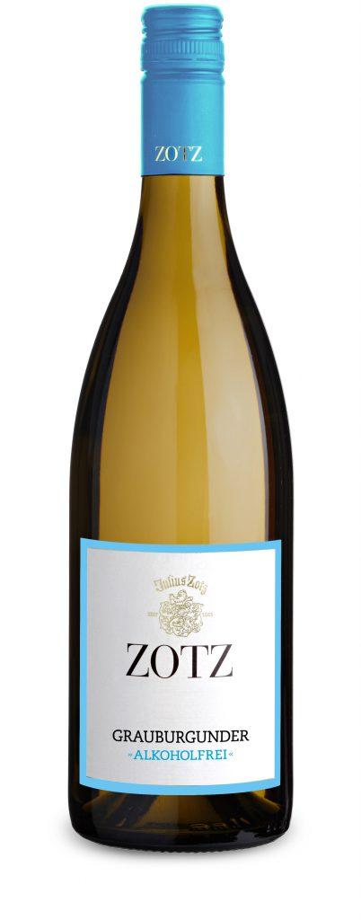Alt-Tag: Ein alkoholfreier Grauburgunder vom Weingut Julius Zotz.